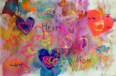 Kindergarten hearts, tissue paper, painted paper, & printmaking with TP tubes fashioned into heart shapes.