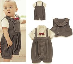 Quality Gentleman styles boys suit/Popular baby suit/Stripe vest+ baby romper with free worldwide shipping on AliExpress Mobile So Cute Baby, Cute Baby Boy Outfits, Toddler Outfits, Kids Outfits, Children's Outfits, Fall Outfits, Baby Boy Romper, Baby Dress, Baby Overalls