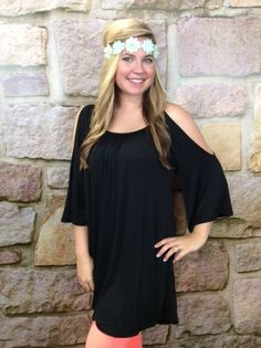black open shoulder tunic  Tee for the soul