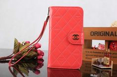 Chanel Samsung Galaxy S5 i9600 Book Wallet Case Watermelon Red Free Shipping - Deluxeiphonecase.com