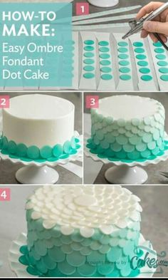 Airbrush each layer of fondant dots slightly lighter than the previous layer to create an amazing ombre cake. Airbrush each layer of fondant dots slightly lighter than the previous layer to create an amazing ombre cake. Cake Decorating Techniques, Cake Decorating Tutorials, Cookie Decorating, Cake Decorating Airbrush, Decorating Cakes, Decorating Ideas, Pretty Cakes, Beautiful Cakes, Amazing Cakes