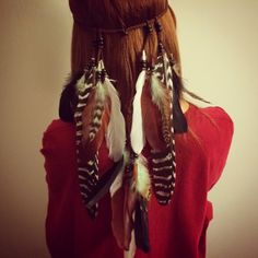 Tribal Headband, Native American, Feather Headband, Feather hair comb, bridal hair comb, feather extension, feather clip, boho, dreamcatcher