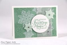 Stampin up - Weihnachtskarte, Christmas card, Stempelset Flockenzauber, Elementstanze Schneeflocken, Flurry of Wishes, Snow Flurry Punch - Fine Paper Arts