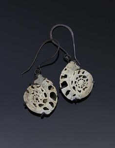 Pyrite Ammonite Fossil Earrings by RenateSurh on Etsy