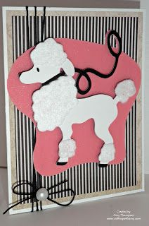 Poodle card made with Cricut cartridge Nifety 50's