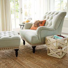 Lovely Chas Gray Blue U0026 White Seersucker Armchair   Seersucker, Armchairs And  Master Bedroom