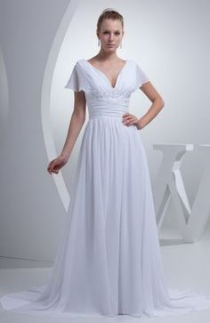 A-Line V-Neck Chiffon Wedding Dresses - Order Link: http://www.thebridalgowns.com/a-line-v-neck-chiffon-wedding-dresses-tbg2618 - SILHOUETTE: A-Line; SLEEVE: Short Sleeves; LENGTH: Court Train; FABRIC: Chiffon; EMBELLISHMENTS: Ribbon , Sash , Beading - Price: 136.89USD