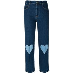 Shop now Stella McCartney cropped heart-embroidered jeans for at Farfetch UK. Stella Mccartney Jeans, Blue Trousers, Jeans Pants, Shorts, Overalls, Streetwear Jeans, Stella Jean, Patched Jeans, Button Fly Jeans