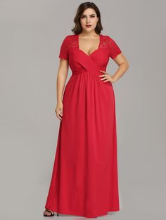 b3295d99f2a Elegant A-Line V-Neck Red Sleeve Plus Size Formal Evening Mother of the  Bride