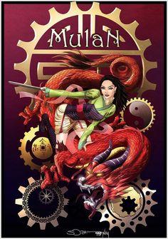 Steampunk Disney Princesses by Nahp-art; Mulan