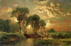 Trademark Fine Art Medfield, Massachusetts Canvas Art by George Inness, Size: 22 x Multicolor Canvas Wall Art, Canvas Prints, Wall Mural, Painting Prints, Art Prints, Painting Abstract, Hudson River School, Oil Painting Reproductions, Artist Canvas