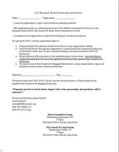2013 Municipal  Election Forum Sponsorship Form