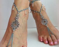 Flowers Boho Barefoot sandals Belly dance barefoot by FiArt