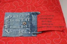 quilt with denim label pocket