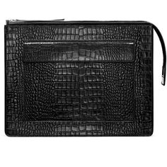 ACNE Ely croco black ($600) ❤ liked on Polyvore featuring bags, handbags, clutches, purses, black leather purse, leather flap handbag, black leather handbags, oversized clutches and black handbags