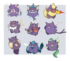 Evolutions of eevee as Gengar? Pokemon Gengar, Pokemon Dragon, Pokemon Funny, All Pokemon, Eevee Evolutions, Pokemon Stuff, Pokemon Images, Pokemon Pictures, Ghost Type Pokemon