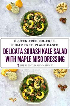 Delicata Squash Kale Salad is simple, yet flavorful. Drizzle on an oil-free Maple Miso Dressing for a delicious, seasonal salad.  #delicatasquash #squash #kale #kalesalad #fallsalad #maple #maplesyrup #miso #tahini #oilfreedressing #vegansalad #vegan #glutenfree #oilfree #sugarfree #plantbased #oilfreevegan #sugarfreevegan #glutenfreevegan #wfpb #forksoverknives #vegansofig #veganblogger #foodblogger #catholic #theplantbasedcatholic