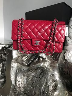 NWT CHANEL 2018 18B Dark Pink Caviar Medium Classic Double Flap Bag 17B RED NEW #CHANEL #ShoulderBag