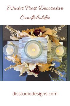 Table Centerpieces, Table Decorations, Late Autumn, Fall Decor, Holiday Decor, Wood Burning Art, Candleholders, Frost, Thanksgiving
