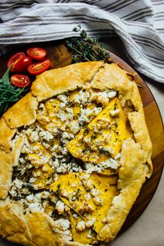 Pumpkin, goat's feta and thyme galette with a buttery, wholemeal ...