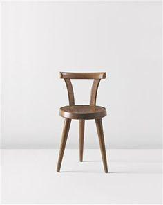 Upcoming: Three-legged chair by Charlotte Perriand  Three-legged chair, c. 1947  Oak. 67.5 cm. (26 1/2 in.) high Produced by L'Equipement de la Maison, Grenoble, France.
