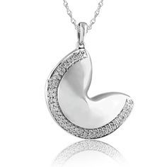 1/4 CT. T.W. Diamond Fortune Cookie Pendant in Sterling Silver at Zales. ♧TT