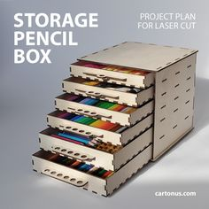 Wooden pencil box project plan for cnc lasercut