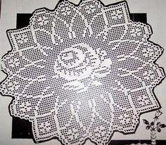 Free Antique Filet Crochet Patterns | R2957 Vintage Filet Rose Centerpiece Crochet Pattern Reproduction ...