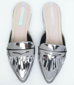 silver flats for weekend wear Mules Shoes, Shoes Sandals, Dress Shoes, Funky Shoes, New Shoes, Cute Slippers, All About Shoes, Cute Sandals, Womens Slippers