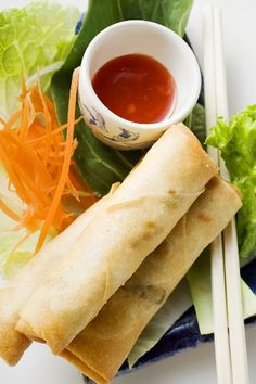 Spring Rolls - Thai Style This recipe is typical in Thailand because it is a popular appetizer that incorporates many Thai vegetables alongside sweet chili sauce.