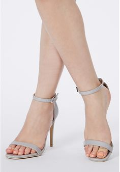 Grey Leather Heeled Sandals: Missguided Clara Grey Strappy Heeled Sandals