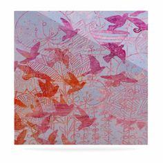 "Marianna Tankelevich ""Bird's Dream"" Lavendar Pink Luxe Square Panel"