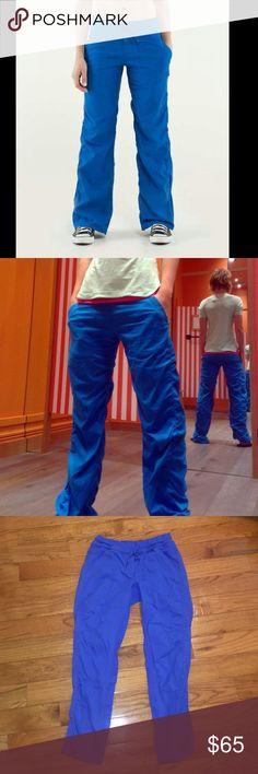 "Lululemon Studio Pants UnLined Bright Blue Hemmed Beautiful studio pant from lulu, had them hemmed, still full length on me 5'7"", no issues, worn twice, no drawstring on the bottom of the pant legs lululemon athletica Pants Track Pants & Joggers"