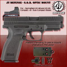New Springfield XD 40 and 45 red dot optic mount from JT Defense