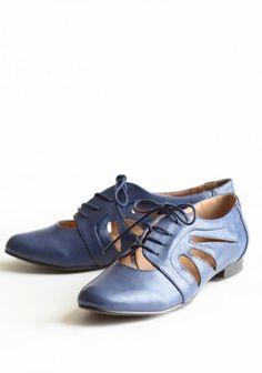 blue oxford cut out shoes