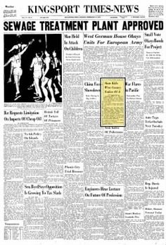 Kingsport Times-News, Miner,(Mullins) killed in slate fall.  Feb., 27, 1955, page1