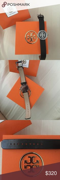 HP! EUC Tory Burch leather black and silver watch Tory Burch watch. Black leather bands. In EUC, light wear on band as shown in the pics from tightening watch. I got another watch as a gift and exchanged it for this one, but I have the receipt and entire box set is included. I will give you my receipt with it because Nordstrom said they would replace the band for you if it wears if you bring the receipt with it. I love it but wear my Fitbit much more! HOST PICK 2/24 Girls Night Out!😍 Tory…