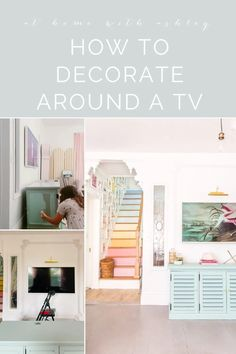 How to Decorate around a TV on the wall in a living room for a modern look. Samsung Frame TV art. A Gallery wall. How to frame it in and add a library light to create a beautiful space even on a large wall. Click through for the full tutorial Decor Crafts, Home Crafts, Diy Home Decor, Decorating On A Budget, Decorating Blogs, Home Improvement Projects, Home Projects, E Design, Interior Design