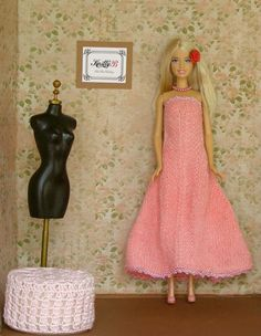 prom dress, doll wardrobe, hand knit clothing, collectibles, miniatures, 12 inch doll, gift under 50, 1 6 scale, gift ideas for girls, modern doll world, fashion doll, long barbie dress, Barbie dress https://www.etsy.com/listing/245128656/12-inch-prom-dress-pink-knit-dress-and