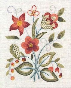 Elsa Williams - The Lowell Sampler - Crewel Embroidery Kit. Though well stitched, design seems too static. Jacobean needs more movement.