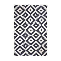Modern Area Rugs | Black Gio Indian Kilim Flat Weave Rug | Jonathan Adler
