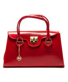 Look what I found on #zulily! Rosso Turn-Lock Leather Satchel by Roberta M #zulilyfinds