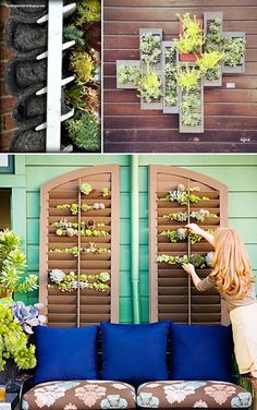 24 Creative Garden Container Ideas   Grow plants and herbs in a shutter! Great for small spaces or covering a wall.