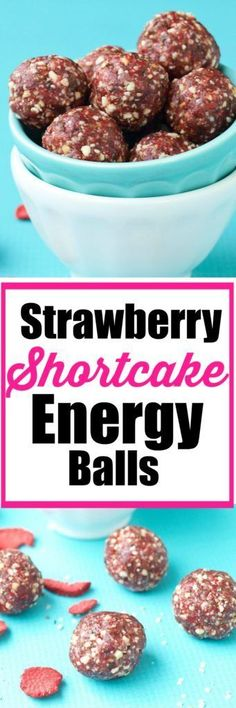Strawberry Shortcake Energy balls--this recipe tastes just like strawberry CAKE! Vegan and gluten free energy ball recipe. Healthy Cookie Recipes, Peanut Butter Recipes, Healthy Cookies, Healthy Desserts, Snack Recipes, Dessert Recipes, Cooking Recipes, Snacks Ideas, Nutritious Snacks