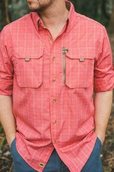 Riverdale Fishing L/S Shirt - Coral Plaid Stylish Shirts, Casual Shirts For Men, Men Casual, Denim Shirt Men, Mens Flannel Shirt, Flannel Dress, Mens Designer Shirts, Designer Suits For Men, Blue Shirt White Collar