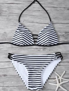 Stripes Hater Cutout Bikini