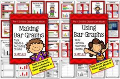 ** 50% Off for the First Two Days! ** Using and Making Bar Graphs Task Cards and Recording Sheet for 3.MD.B.3  {An additional resource for Go Math, Third Grade, Chapter One.} #TPT $Paid