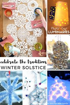 Love these ideas! Beautiful and simple winter solstice activities for kids including snowflakes, luminaries, and outdoor decorations and treats for animals. Winter Crafts For Kids, Winter Kids, Winter Holidays, Kids Crafts, Party Activities, Winter Activities, Activities For Kids, Diwali Activities, Advent Activities