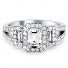 Art Deco inspired diamond platinum engagement ring