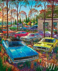 THEY CAME WITH THE FARM TOO - from the 'Muscle Car Landscapes' Series. An original painting by Michael Irvine - Fine automotive art. www.michaelirvine.com $150